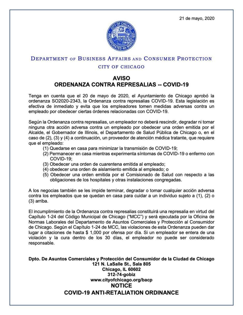 ordenanza contra represalias durante covid19